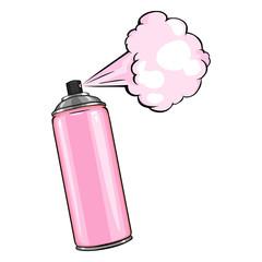 Vector Cartoon Aerosol Sprays with Pink Paint