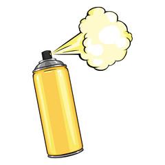 Vector Cartoon Aerosol Sprays with Yellow Paint