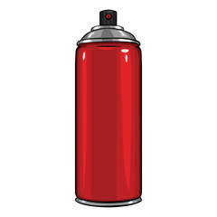Vector Cartoon Aerosol Spray with Red Paint