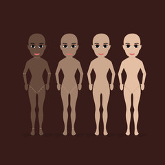 mannequins of woman in brown to white skin color. skin tone