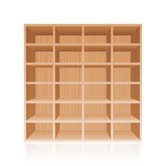 Rack or bookshelf - wooden texture optic - with twenty four empty cubbyholes. Isolated vector illustration on white background.
