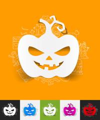 pumpkin paper sticker with hand drawn elements