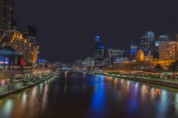 Night time at  Yarra River,  Melbourne city, Victoria, Australia.