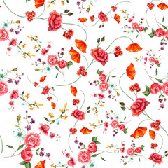 Vintage style watercolour rose seamless background pattern