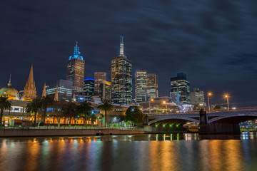 Night time, Melbourne city and Princess Bridge, Victoria, Australia.