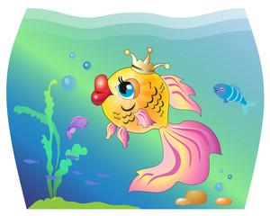 Сказочная золотая рыбка плавает в аквариуме, иллюстрация, вектор
