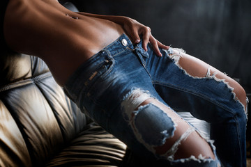 Jeans tanned body