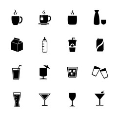 Drink icons. Beverages icons. Vector. silhouette
