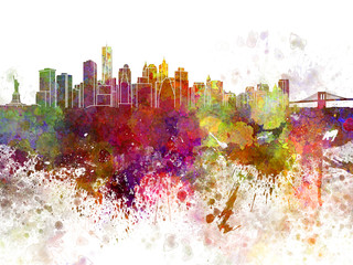 New York skyline v2 in watercolor background