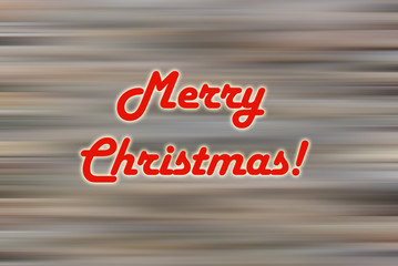 Merry Christmas retro greeting card in gray and white, with red text and motion blur.