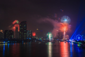 Colorful fireworks in the city for celebration