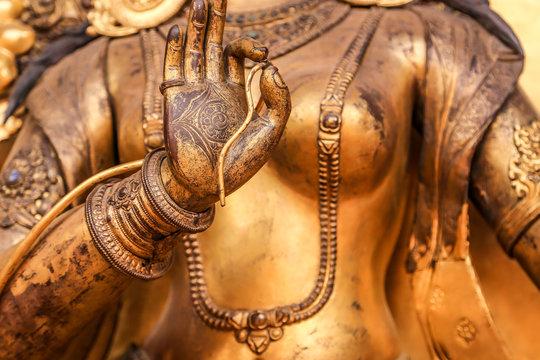 Bronze statue closeup, Nepal