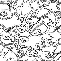 Nature tourism seamless pattern, hand drawn mountains