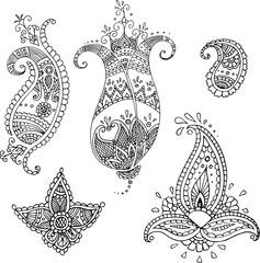 Black Indian paisley set, five vector hand drawn elements