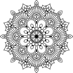 Black floral mandala for design or mendie, isolated on the white background