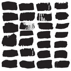 Big collection of black ink brush strokes. Vector grunge splattered