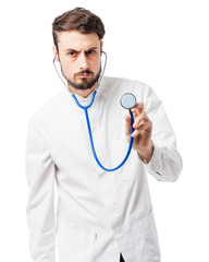 angry doctor man with stethoscope