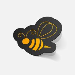 Realistic paper sticker: Bee