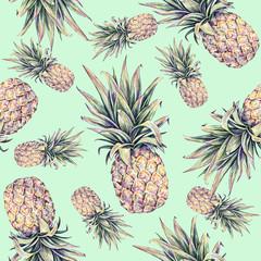 Ananas sur fond vert clair. Illustration colorée à l& 39 aquarelle. Fruit exotique. Modèle sans couture