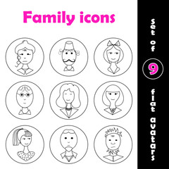 Set of 9 flat family icons