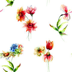 Seamless watercolor wallpaper with flowers
