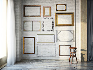 Abstract interior of assorted classic empty picture frames against a white brick wall with rustic hardwood floors. Photo realistic 3d model scene