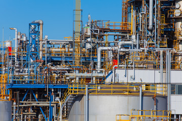 Industrial view at oil refinery plant form industry zone..