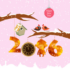 happy new year 2016 with birdhouse for winter. Gold clock geometrical