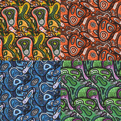 Set of seamless pattern of small spots, dots and paisley in Afri