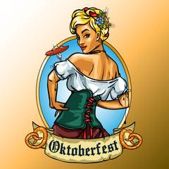 Pretty Bavarian girl eating sausage