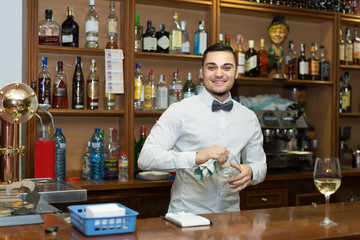 bartender working at counter