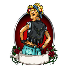 Pretty Pin up girl label