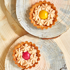 Sweet tartlets filled with cream