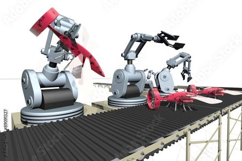 """""""Fabricage van speelgoed vliegtuig door robot""""Fotolia.com ..."""