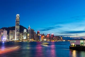 Skyline and cityscape of modern city hongkong at night