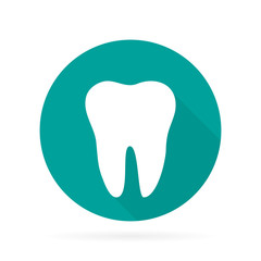 Dental Tooth logo in flat with shadow