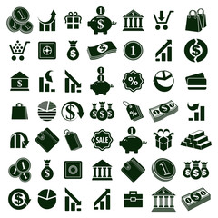 Money icons isolated on white background vector set, finance the