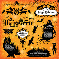 Halloween design elements. Collection of halloween labels, icons, signs and other elements.