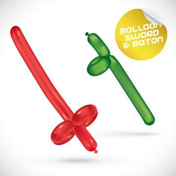 Glossy Balloon Sword & Baton Illustration