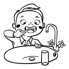 funny cartoon boy brushing his teeth. vector illustration