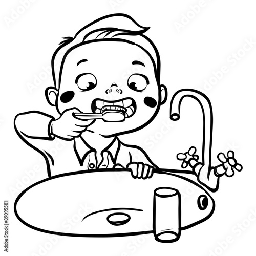 child brushing teeth coloring pages - photo#16