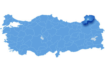 Map of Turkey, Artvin