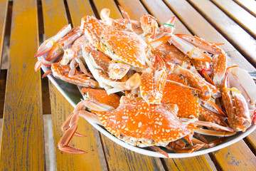 Close Up Hot Steamed Crabs