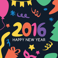 Multicolor hand drawn New Year 2016 greeting card. Vector icons