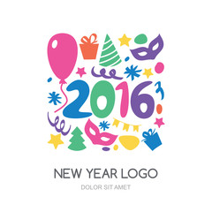 Multicolor hand drawn New Year 2016 logo. Vector icons set. Gift