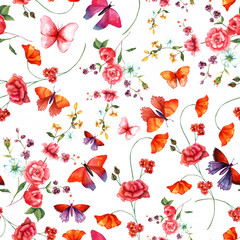 Vintage style watercolour rose and butterflies seamless pattern