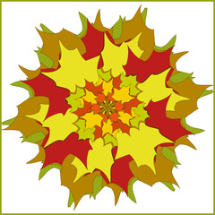 bouquet of colorful autumn leaves isolated vector illustration.