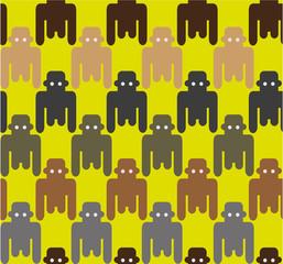 Flat style monkeys seamless pattern.