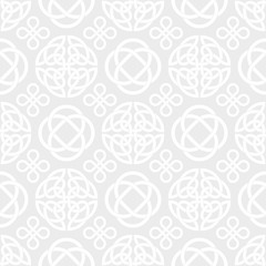 Celtic Knots Seamless vector wallpaper pattern background white on grey