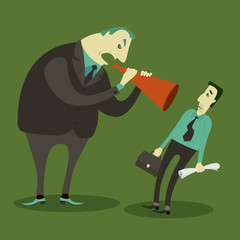 Boss yelling through megaphone at his frustrated employee, Vector Illustration.